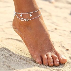 Boutique Jewelry - SILVER PLATED INFINITY & HANGING FAUX PEARL ANKLET